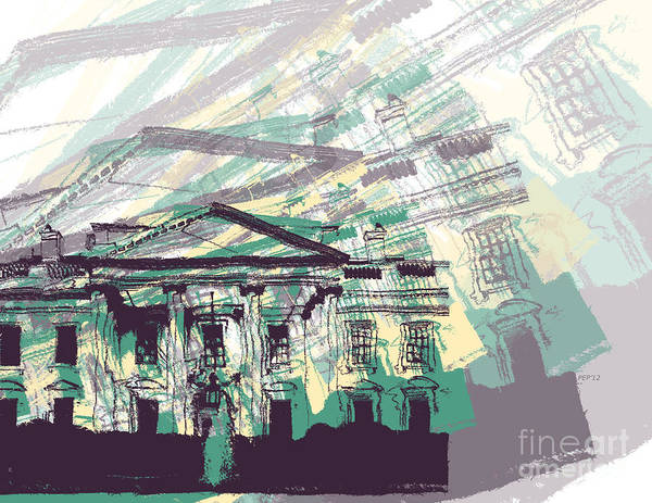 Presidency Digital Art - The White House by Phil Perkins