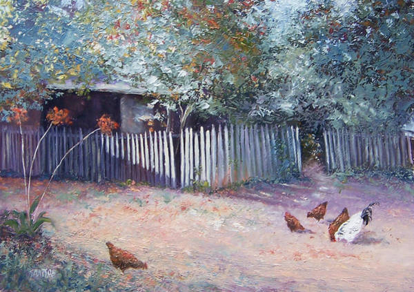 White Picket Fence Painting - The White Picket Fence by Jan Matson