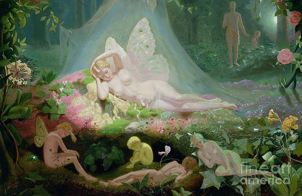 Pixie Painting - There Sleeps Titania by John Simmons