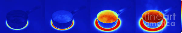 Infrared Radiation Photograph - Thermograms Of Heating Up Water by GIPhotoStock