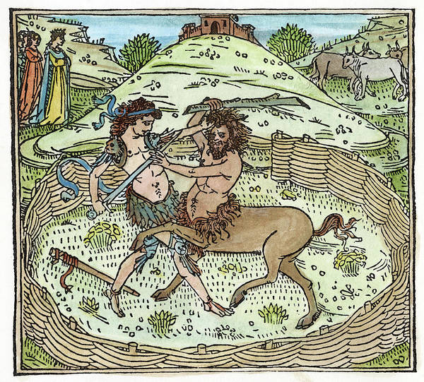Wall Art - Painting - Theseus Battling Centaur by Granger