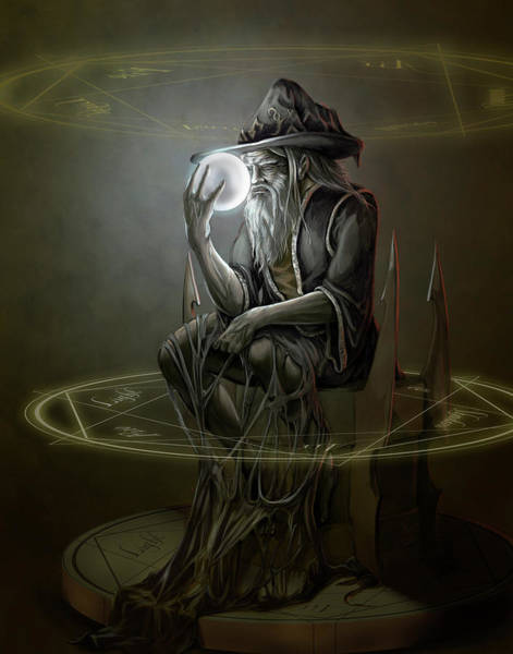 Wall Art - Painting - Thinker Wizard by MGL Meiklejohn Graphics Licensing