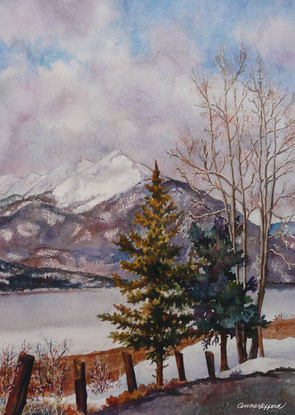 Mountain Lake Painting - Thinking About Spring by Anne Gifford