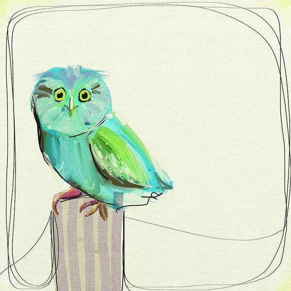 Owl Wall Art - Painting - This Little Guy by Cathy Walters