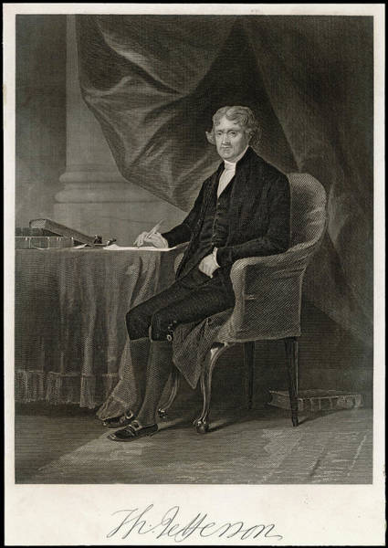 Wall Art - Drawing - Thomas Jefferson  Third President by Mary Evans Picture Library