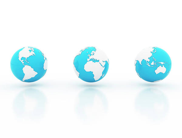 Wall Art - Photograph - Three Blue And White Globes by Jesper Klausen / Science Photo Library