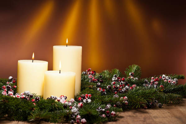 Photograph - Three Candles In An Advent Flower Arrangement by U Schade