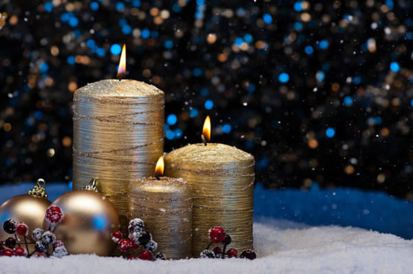 Photograph - Three Gold Candles In Snow  by U Schade