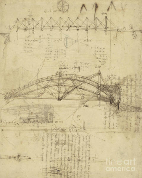 Ink Pen Drawing - Three Kinds Of Movable Bridge by Leonardo Da Vinci