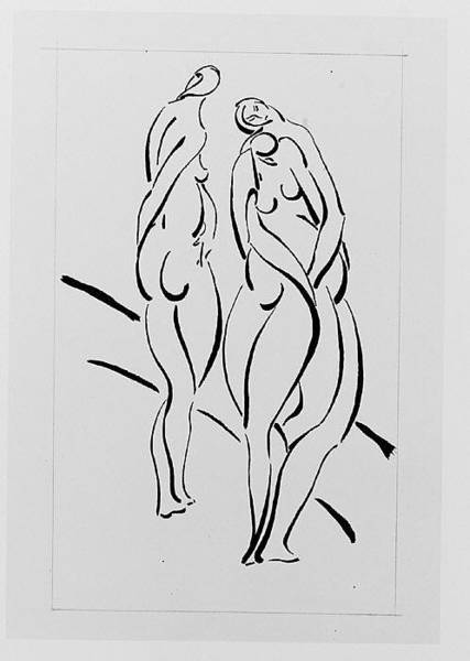Mat Drawing - Three Nudes by John Bernard Flannagan
