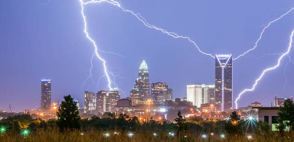Photograph - Thunderstorm Lightning Strikes Over Charlotte City Skyline In No by Alex Grichenko