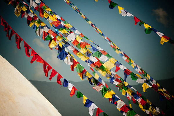 Photograph - Tibetan Buddhist Prayer Flags Stupa Boudnath by Raimond Klavins