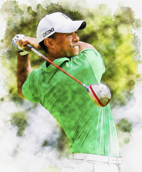 British Open Digital Art - Tiger Woods Hits A Drive  by Don Kuing