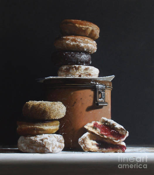 Wall Art - Painting - Tin With Donuts by Lawrence Preston