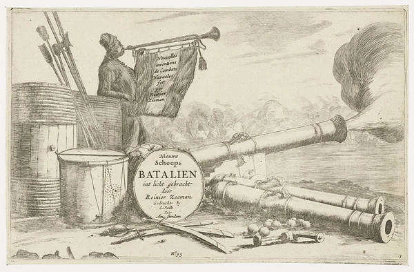 Wall Art - Drawing - Title Page With The Equipment Of A Warship And A Trumpet by Reinier Nooms