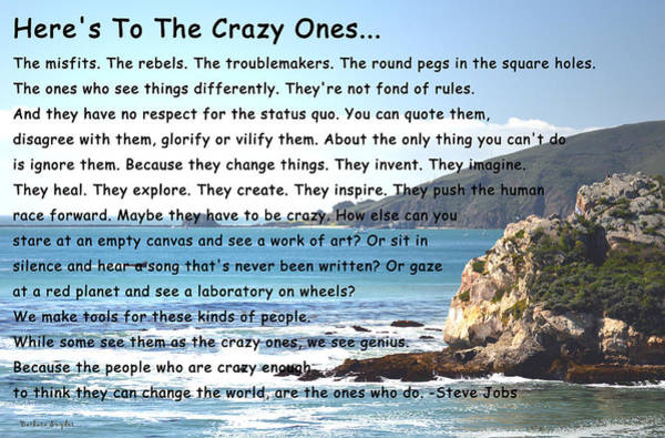 Morro Bay Digital Art - To The Crazy Ones by Barbara Snyder