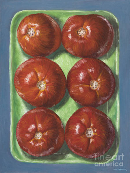 Red Fruit Wall Art - Digital Art - Tomatoes In Green Tray by Jim Zahniser