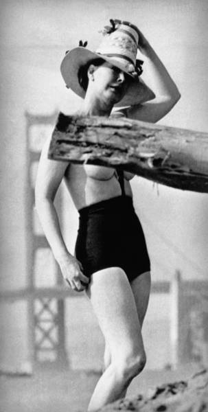 Photograph - Topless Bathing Suit by Underwood Archives