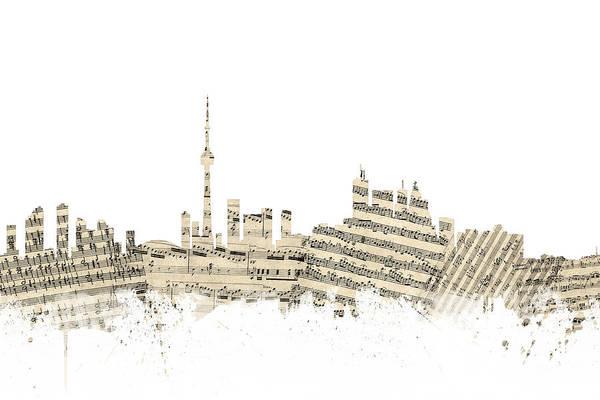 Toronto Wall Art - Digital Art - Toronto Canada Skyline Sheet Music Cityscape by Michael Tompsett