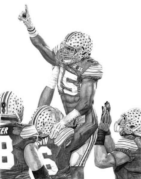 Graphite Drawing - Touchdown by Bobby Shaw