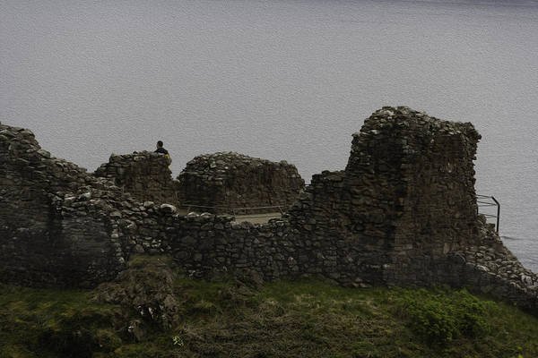 Castles Of Scotland Digital Art - Tourist Visible At The Battered Remains Of The Urquhart Castle by Ashish Agarwal