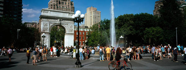 Lamppost Photograph - Tourists At A Park, Washington Square by Panoramic Images