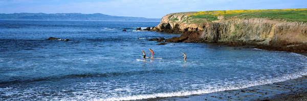 Santa Cruz Island Wall Art - Photograph - Tourists Paddleboarding In The Pacific by Panoramic Images