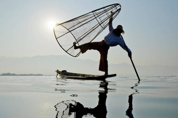 Candid Photograph - Traditional Bamboo Fisherman, Inle by Rwp Uk