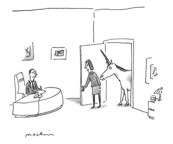 Personnel Drawing - Trailed By A Unicorn by Michael Maslin