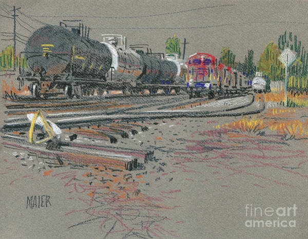Trains Drawing - Train's Coming by Donald Maier