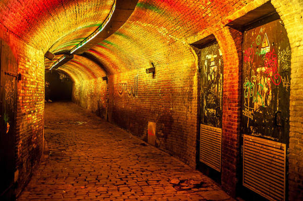 Holland Tunnel Wall Art - Photograph - Trajectum Lumen Project. Ganzenmarkt Tunnel 6. Netherlands by Jenny Rainbow