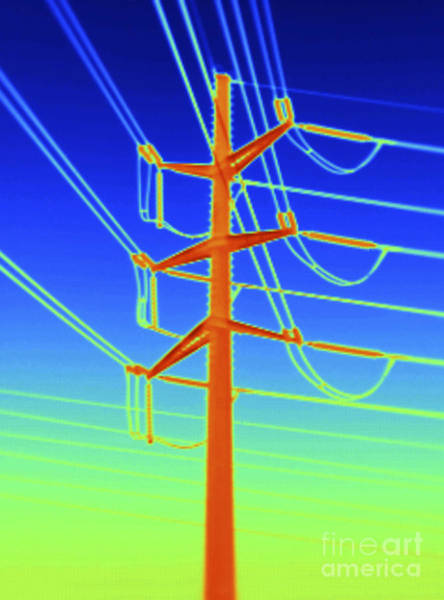 Infrared Radiation Photograph - Transmission Tower Thermogram by GIPhotoStock