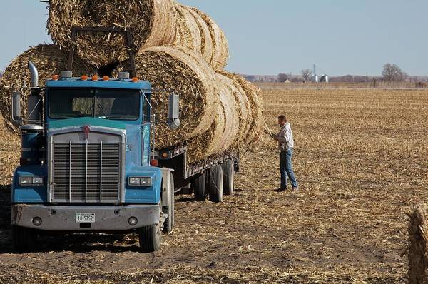 Hay Bale Wall Art - Photograph - Transporting Bales Of Hay by Jim West