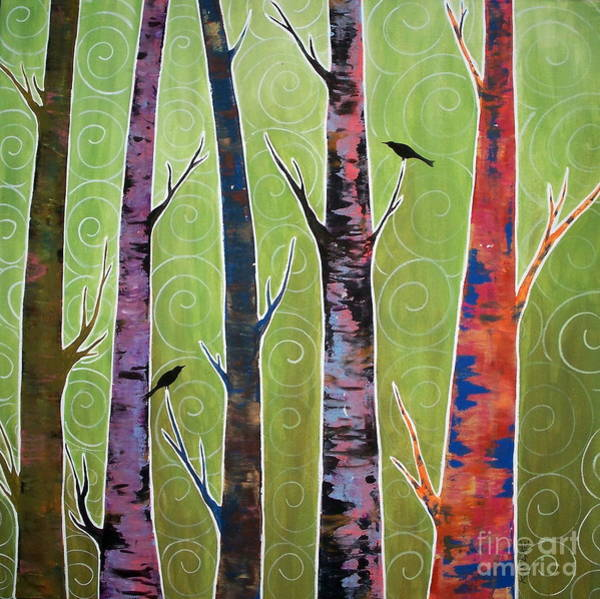 Blackbird Painting - Trees On Green by Karla Gerard