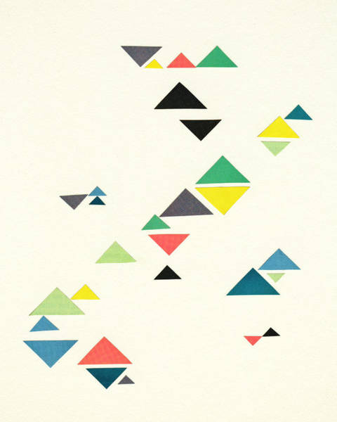 Teal Mixed Media - Triangles by Cassia Beck