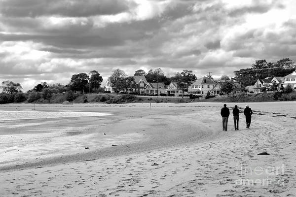 Photograph - Three People Walk The Chilly Beach In Autumn In Onset Massachusetts by William Kuta
