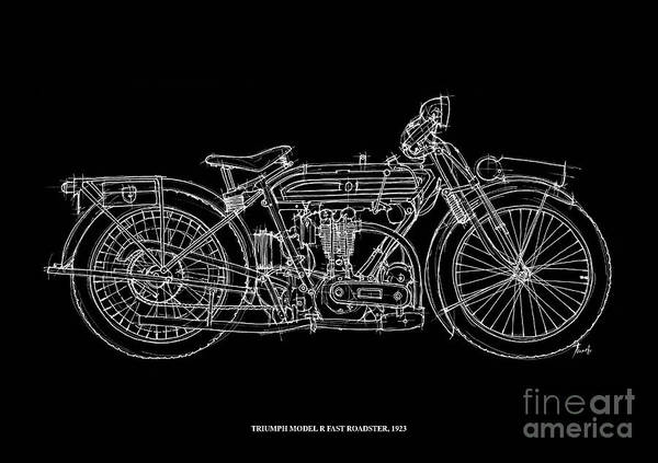 Model Drawing - Triumph Model R Fast Roadster 1923 by Drawspots Illustrations