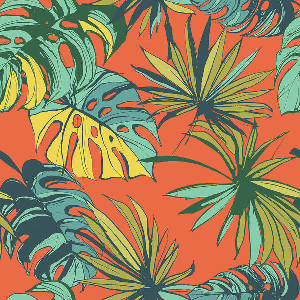 Palm Beach Digital Art - Tropical Jungle Floral Seamless Pattern by Sv sunny