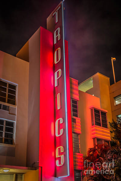 Wall Art - Photograph - Tropics Hotel Art Deco District Sobe Miami - Black And White by Ian Monk