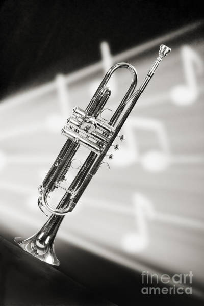 Photograph - Trumpet In Music Storm In Sepia 3203.01 by M K Miller