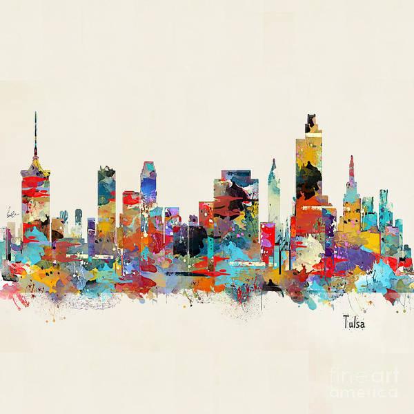 Oklahoma Wall Art - Painting - Tulsa Oklahoma Skyline by Bri Buckley