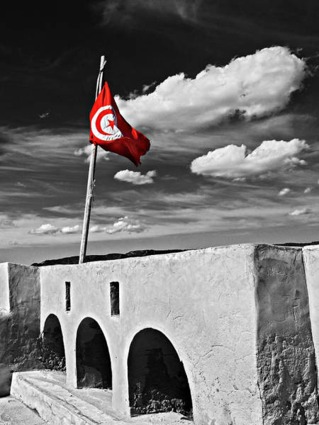 Photograph - Tunisian Flag / Hammamet by Barry O Carroll