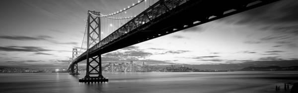 Span Wall Art - Photograph - Twilight, Bay Bridge, San Francisco by Panoramic Images