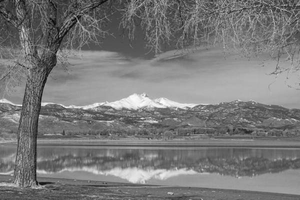 Photograph - Twin Peaks Longs And Meeker Lake Reflection Bw by James BO Insogna
