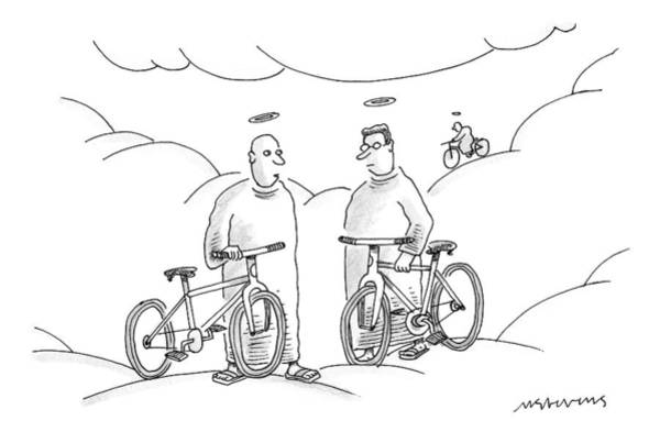Bicycle Drawing - Two Angels With Bicycles Converse. Another Angel by Mick Stevens