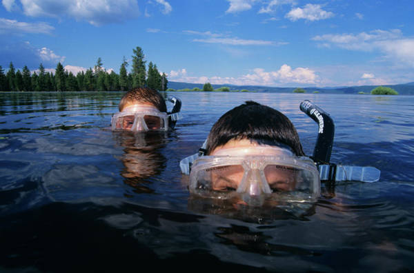 Sneak Photograph - Two Boys Snorkeling In Mountain Lake by Vintage Images