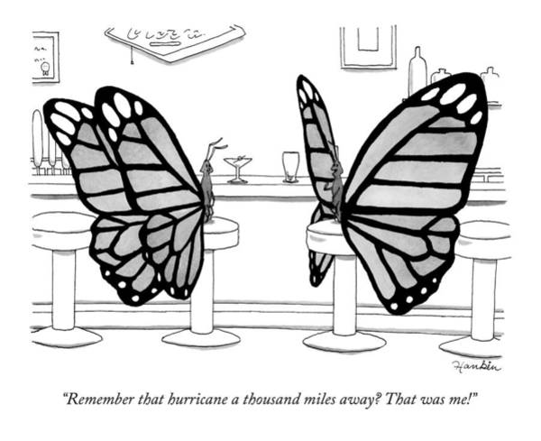 Drawing - Two Butterflies Talking In A Bar by Charlie Hankin