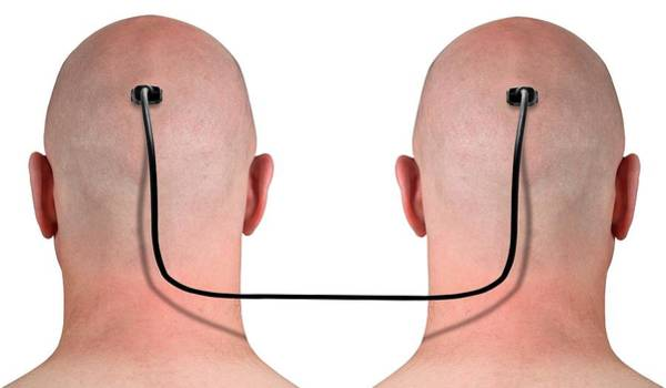 Shaved Photograph - Two Heads Connected By A Wire by Victor De Schwanberg