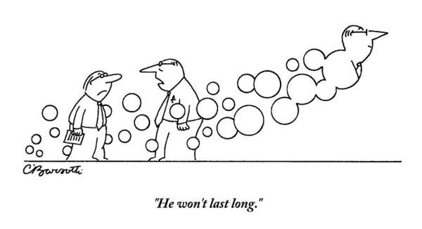 Flying Drawing - Two Men Are Speaking With Each Other As Bubbles by Charles Barsotti