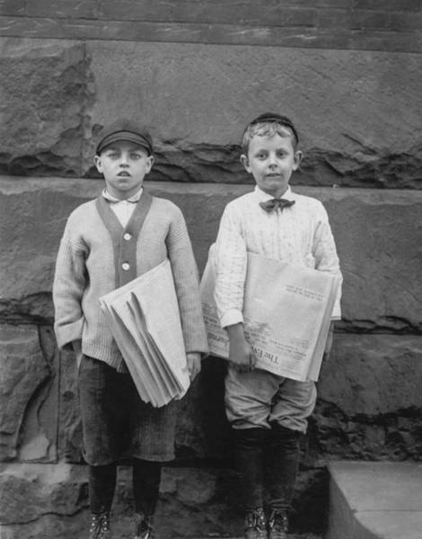 Wilmington Delaware Wall Art - Photograph - Two Newspaper Boys by Aged Pixel